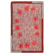 Floral Antique American Hooked Rug 70055