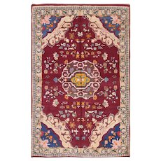 Small Vintage Cotton Indian Agra Rug, Country of Origin: India, Circa Date:Mid 20th Century –
