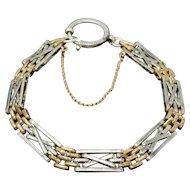 Antique Victorian Niello 800 Silver Rose Gold Gilt Chain Bracelet