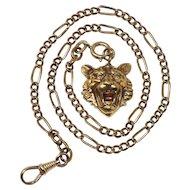 Antique KOLLMAR & JOURDAN Rose Rolled Gold Watch Chain Necklace Lion Pendant
