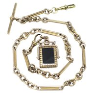 Vintage Rolled Yellow Gold Watch Chain with Spinner Fob Pendant Necklace