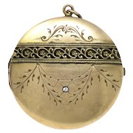 Antique Victorian Warm Yellow Rolled Gold Engraving Paste Round Locket Pendant
