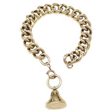 Antique 18ct Yellow Rolled Gold Chunky Curb Bracelet with Fob Pendant