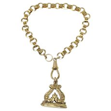 Antique Yellow Rolled Gold Book Chain Links Bracelet with Engraved Floral Fob Pendant