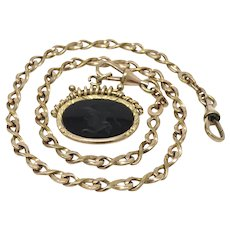 Antique Warm Yellow Rolled Gold Watch Chain with Intaglio Fob Pendant Necklace