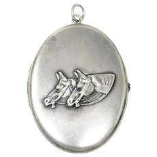 Antique 2 Horse Heads Alpaca Silver Extra Large Oval Locket Pendant