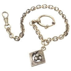 Antique 9ct Rose Gold Vermeil Sterling Silver Watch Chain Seed Pearl Fob Bracelet