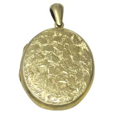 Victorian Engraved Leaves Yellow Rolled Gold Extra Large Oval Locket Pendant