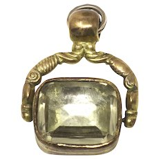 Antique Victorian Rolled Gold Citrine Spinner Fob Pendant
