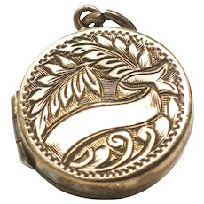 Antique Rose Rolled Gold Engraved 2 Sided Reversible Round Locket Pendant