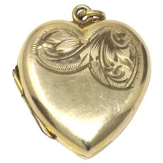 Vintage Yellow Rolled Gold Heart Engraved Locket Pendant