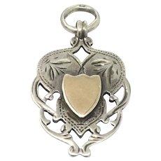 Antique Engraved Sterling Silver Rose Gold Gilt Shield Medal Fob Pendant
