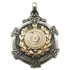 Birmingham Thomas Fattorini Sterling Silver Rose Gold Gilt Dart Board Fob