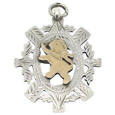 Scottish Thistle Lion Rampant Sterling Silver Rose Gold Gilt Fob Medal