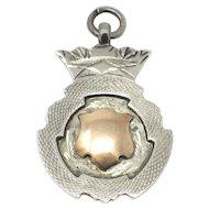 Vintage Birmingham Engraved Sterling Silver Rose Gold Gilt Medal Fob