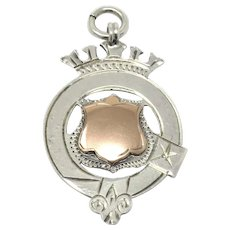 Antique Engraved Sterling Silver Rose Gold Gilt Shield Cartouche Medal Fob Pendant