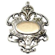 Antique Edwardian Engraved Sterling Silver Rose Gold Gilt Medal Fob Pendant