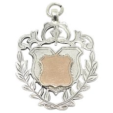 1919 Engraved Sterling Silver Rose Gold Gilt Fob Medal Pendant