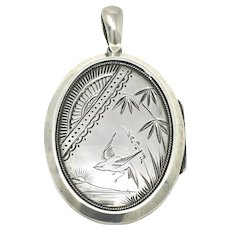 Antique Victorian Aesthetic Movement Engraved Sterling Silver Oval Locket Pendant