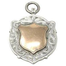 Antique Sterling Silver Rose Gold Gilt Shield Cartouche Fob Pendant
