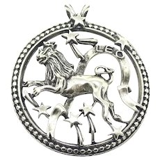 Rare Vintage Large Beau Sterling Silver Leo Lion Zodiac Sign Pendant