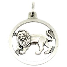Vintage Anson Sterling Silver Leo Lion Zodiac Pendant