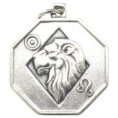 Rare Vintage Sterling Silver 2 Sided Leo Lion Zodiac Sign Pendant