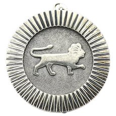 Vintage 800 Silver King of the Jungle Leo Zodiac Lion Pendant