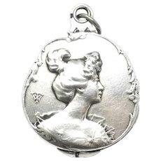 Antique French Art Nouveau Sliding Mirror Locket Pendant