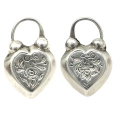 Antique Victorian English Two Sided Engraved Heart Padlock Pendant