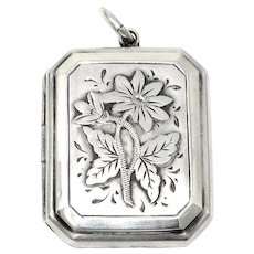 1893 Antique Victorian Sterling Silver Rectangle Engraved Locket Pendant