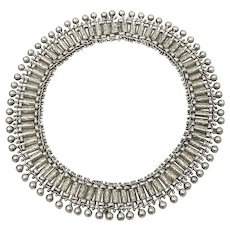 Antique Victorian Sterling Silver Engraved Collar Necklace