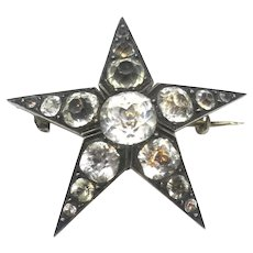 Antique Victorian Sterling Silver Paste Star Pin Brooch