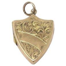 Antique Victorian 9ct Front & Back Engraved Shield Shape Locket Pendant