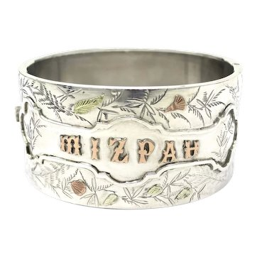 Rare Victorian MIZPAH Engraved Sterling Silver Yellow & Rose Gold Gilt Bangle