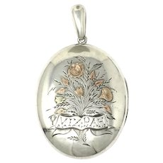 Rare Victorian MIZPAH Engraved Sterling Silver Yellow & Rose Gold Gilt Locket Pendant