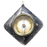Miniature Antique Victorian Niello 800 Silver Rose Gold Gilt Compass Pendant
