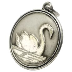 Rare Victorian White Swan Enamel Silver Pendant