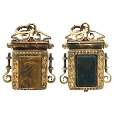 Victorian Watch Fob Locket with intaglio Carved Tigers Eye & Bloodstone Pendant