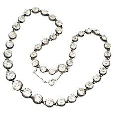 1890 Victorian Scandinavian Bernard Hertz Silver Graduated Paste Necklace