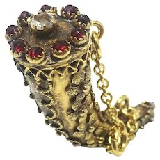 Antique Brass Forget Me Not Claw Tooth Horn Shape Garnet Paste Glass Fob Pendant