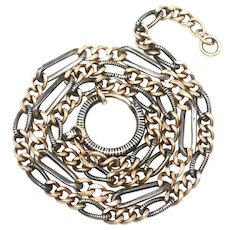 Heavy Niello Silver Rose Gold Gilt Watch Chain Necklace