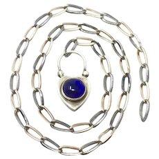 Vintage Scottish Amethyst Heart Padlock Niello Chain Necklace