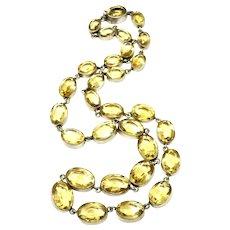 Vintage Rivière Genuine Citrine Gemstones Sterling Silver Gilt Necklace