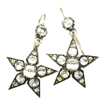 Victorian Sterling Silver Gold Gilt Star Pastes Earrings