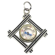 Miniature 2 Sided Antique Victorian Niello 800 Silver Compass Charm Pendant