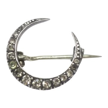 Victorian Silver Paste Crescent Moon Brooch