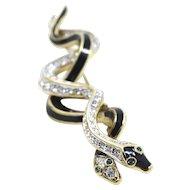 Vintage Signed Atwood Sawyer Snake Black Enamel Rhinestones Double Snakes Pin Brooch