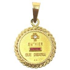 "18k French Love Medal ""Qu'hier Que Demain"" A. Augis Charm"