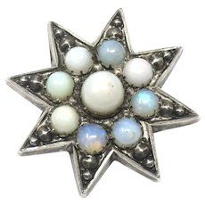 Rare Victorian Sterling Silver Opal Star Pin Brooch
